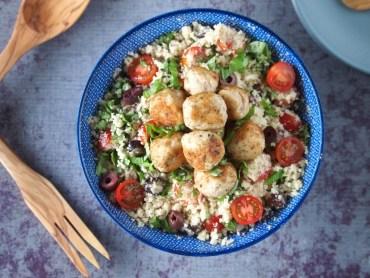 bloemkool couscous met kippengehaktballentjes