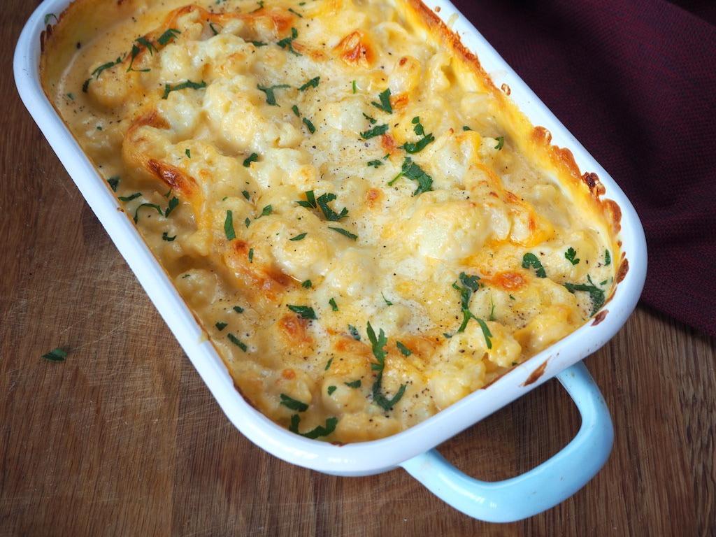 Glutenvrij en koolhydraatarme bloemkool mac n cheese