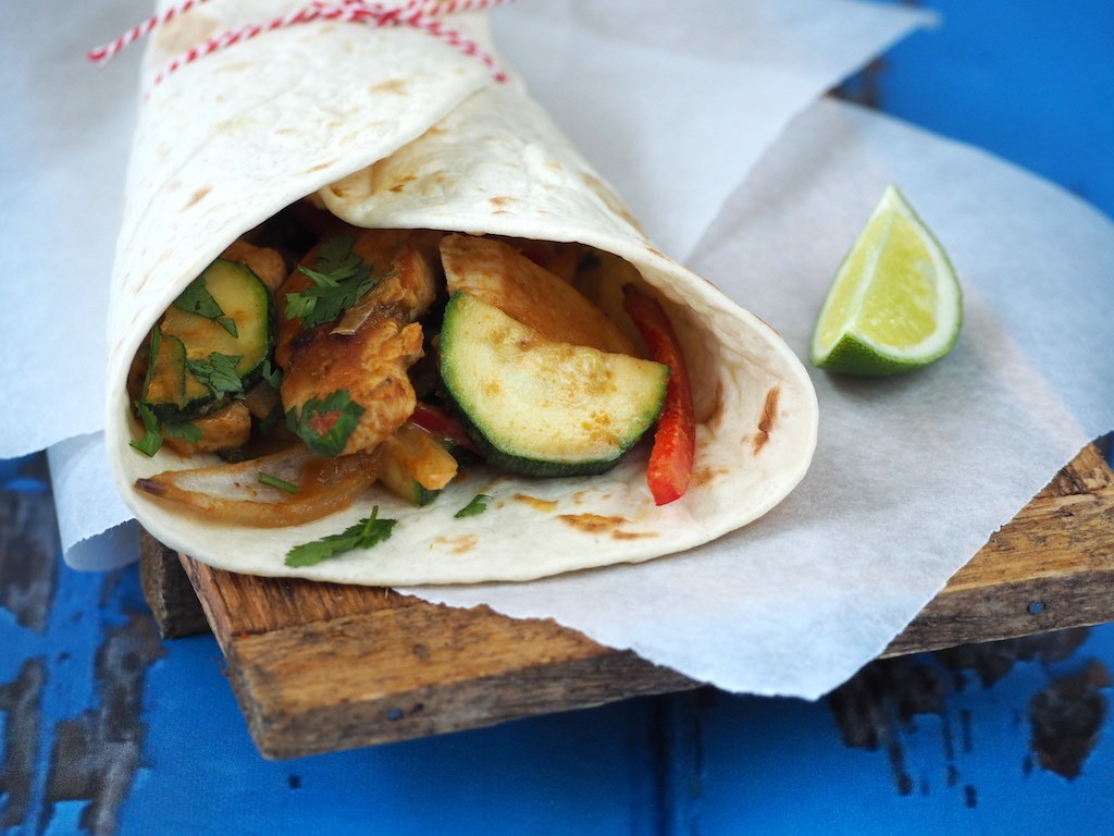 Thaise curry wraps met kip