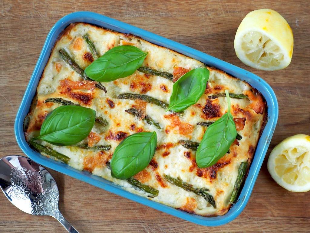 Lasagne met zalm groene asperges