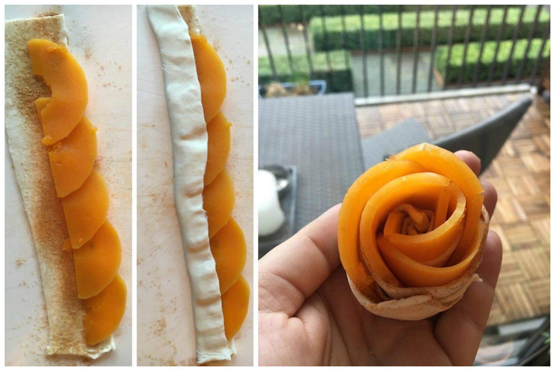 Pompoen roosjes rollen met bladerdeeg