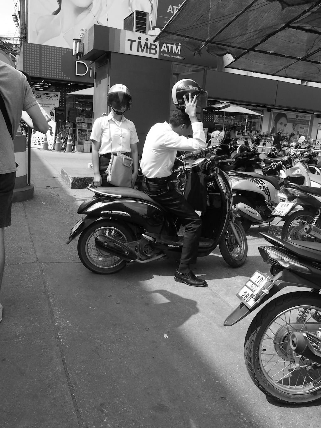 Chiang Mai street photography school scooter