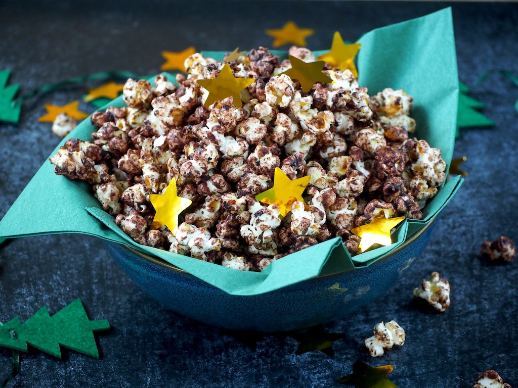 Chocolade kerst popcorn