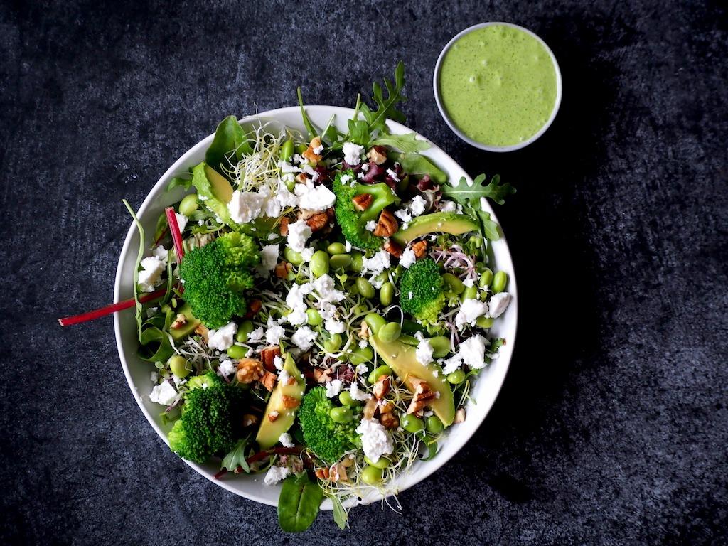 Groene maaltijd salade met feta