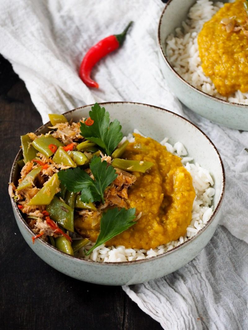 Markreel met snijbonen en rijst