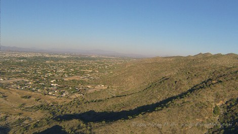 Flying eastbound along the foothills of South Mountain in Phoenix.