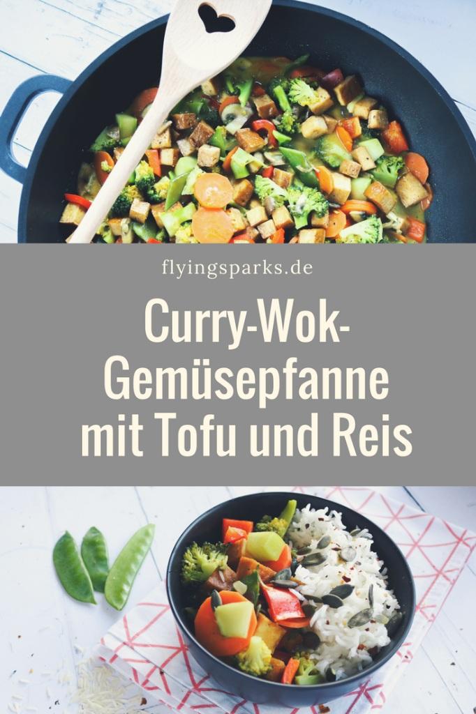 Curry-Wok-Gemüsepfanne mit Tofu und Reis