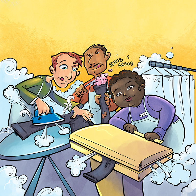 Children's book illustrations of a young colorful boy