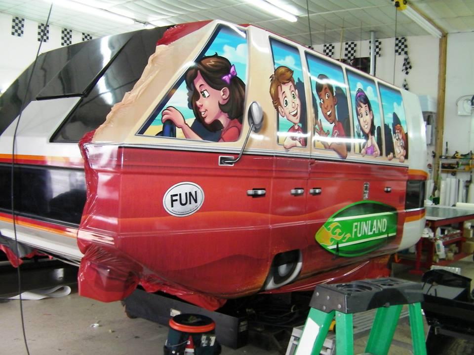 Graphic vehicle wrap illustration for amusement park ride