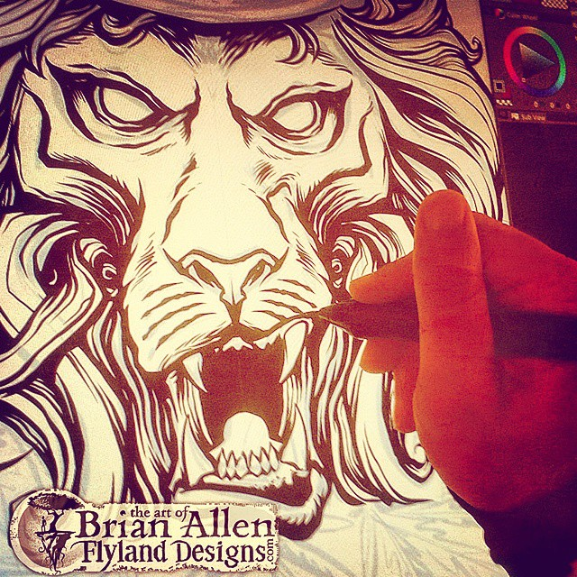 Drawing a Rasta lion on a Wacom Cintiq for my friends at concentrated apparel.#digital #art #lion #pot #weed #concentratedapparel
