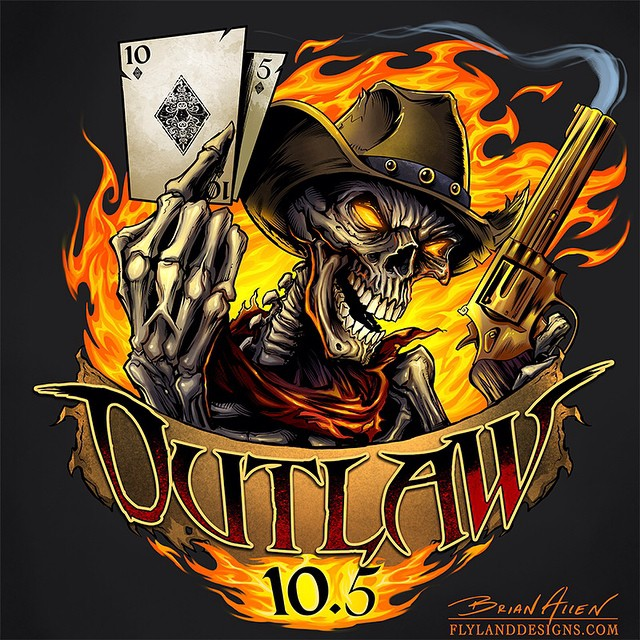 The finished skull outlaw logo for Outlaw 10.5 racing