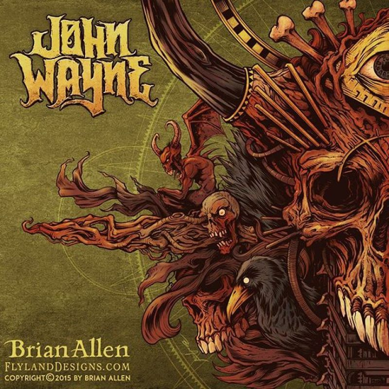 """Album cover I illustrated for the Brazilian heavy metal band John Wayne (named after John Wayne Gacy - not the other guy). It was a great pleasure working on this with the band, as they gave me a lot of freedom, and I set upon the design without much planning, and tried to let it flow.  This album cover is the first in a set of two albums, that when placed together will form one cohesive image.  This album represents the dark side, while the following album will have a similar design, but mirrored, and """"lighter."""" #johnwayne #metal #albumcover #mangastudio #photoshop #illustration #tshirt #art #instaart #instaartist #picoftheday #igdaily #followme"""