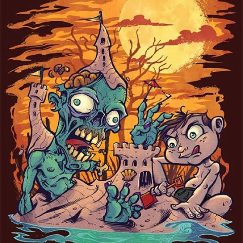 Here's the finished zombie sand-castle illustration I created from one of my inktober sketches.  Really like how this turned out, tried to stick with a limited color scheme.#zombie #sandcastle #beach #mangastudio #photoshop #illustration #tshirt #art #instaart #instaartist #picoftheday #igdaily #followme
