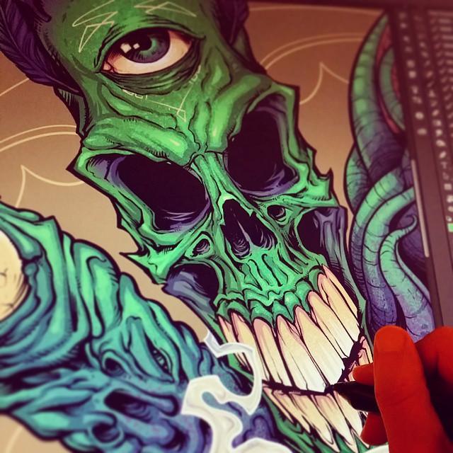 Having fun with some skulls. #digital #art #skull #ink #mangastudio