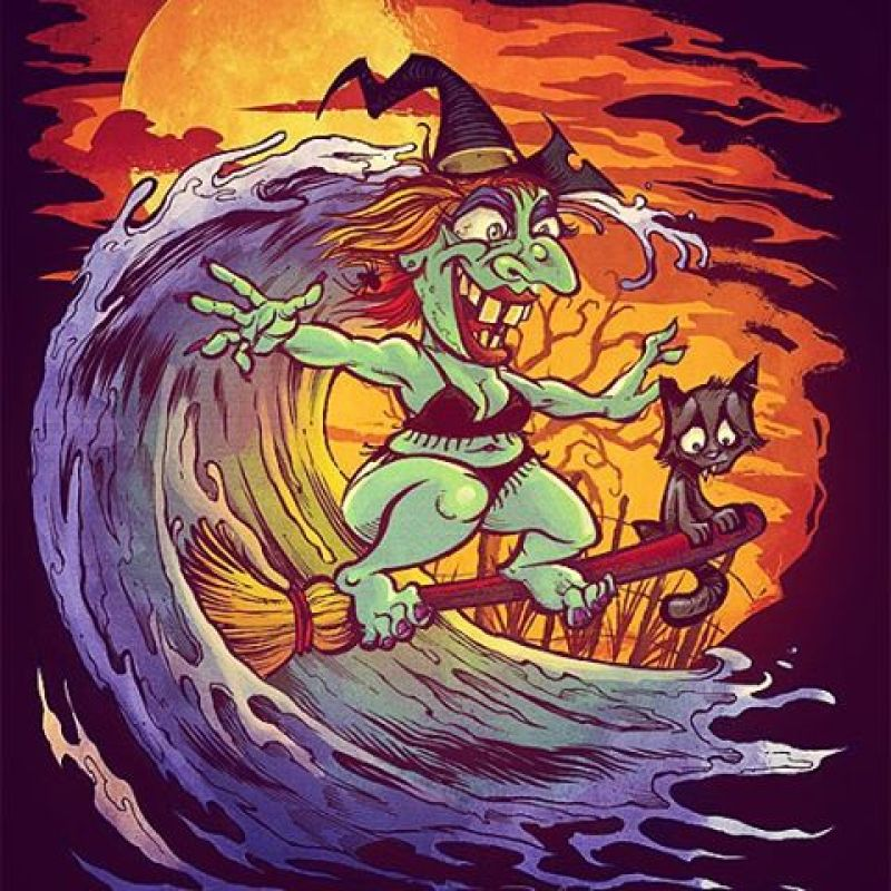 And the final illustration in my Halloween at the Beach series!  Surfing witch, not afraid to show off her beach body.  Inked on paper with a pentel PocketBrush pen, and colored in Manga Studio 5.#witch #surfing #beach #mangastudio #photoshop #illustration #tshirt #art #instaart #instaartist #picoftheday #igdaily #followme