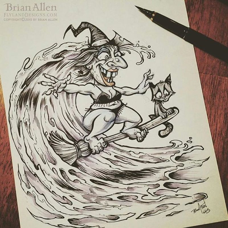 #Inktober Day 6!  I brushed out this witch broom-surfing on a wave - witches rarely get to show off their beach bodies.#witch #ink #sketch #brush #blackandwhite #art#mangastudio #photoshop #illustration #tshirt #art #instaart #instaartist #picoftheday #igdaily #followme