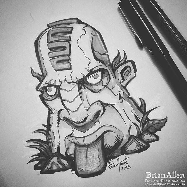 Tiki Head ink sketch