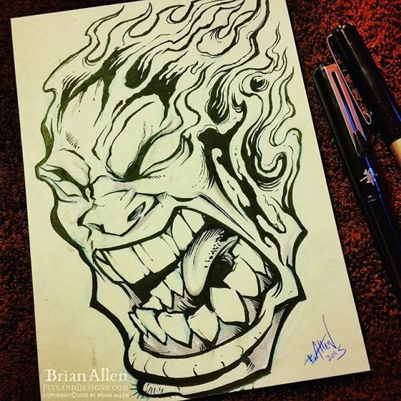 It's Day 26 of the #Inktober challenge, and it's time of a big angry screaming flaming head.  Long overdue I think.Would love to make a tshirt from this.#inktober #ink #face #sketch #brush #blackandwhite #art #instaartist #brianallen