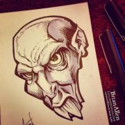 Buck-toothed Vampire ink sketch