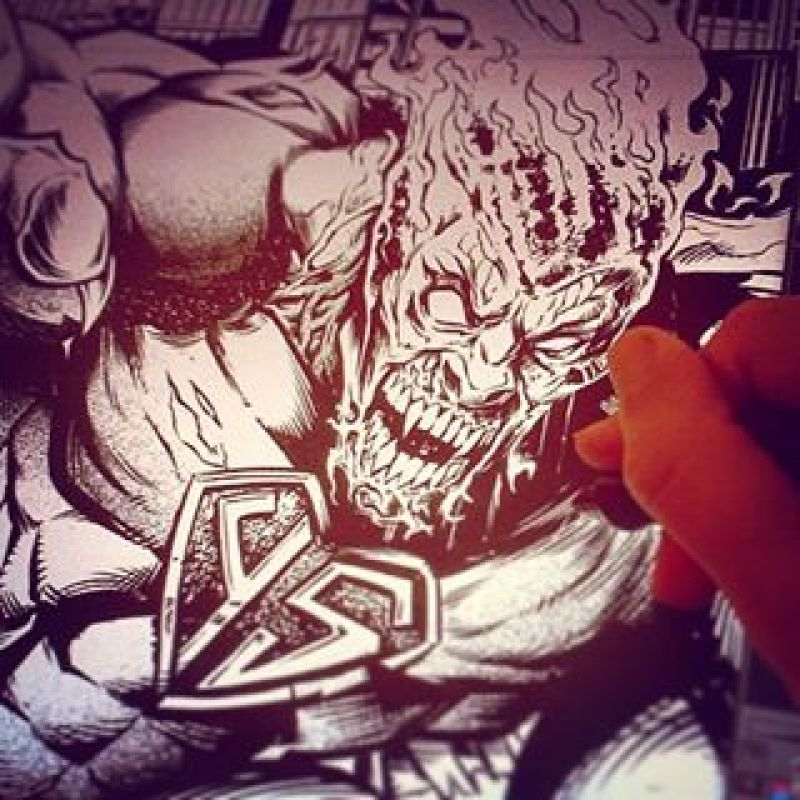 Inking a t-shirt I created for the record label #YellowStripe - the idea was to create a superhero who has gone mad, and destroyed an entire city as a result.  I'm all about deep meaning in my artwork.#superhero #tshirt #recordlabel#mangastudio #photoshop #illustration #tshirt #art #instaart #instaartist #picoftheday #igdaily #followme