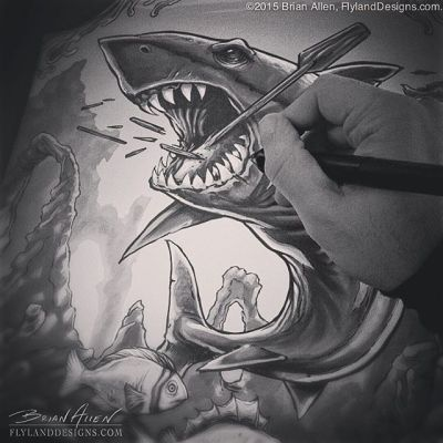 Drawing an angry shark for a dye-sublimated rash guard.  Why is everything I draw angry?  Does it have something to do with my personality?  Shut up - what a stupid question!Illustrated by Brian Allen, FlylandDesigns.com#shark #rashguard #dyesub #mangastudio #photoshop #illustration #tshirt #art #instaart #instaartist #picoftheday #igdaily #followme