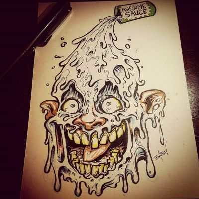 Just a dab of awesome sauce! Happy Friday!#ink #Pentel #drawing