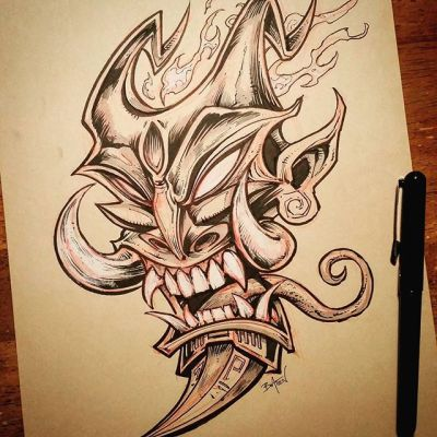 Demon mask I drew for #Inktober - started out as just a quick thing and I got carried away.#tiki #demon #devil #ink #art New Artwork From Instagram