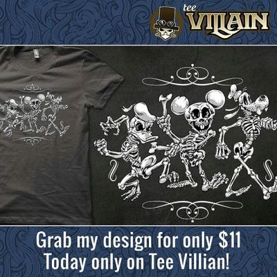 TeeVillain is featuring my artwork all day today!  If you were a fan of this, today is the best chance to grab it on a t-shirt super cheap.  Thanks so much for all the kind words on this design!#tshirt #teevillain #skeleton #disney #halloween #funny #mickey #goofy #art #illustration New Artwork From Instagram