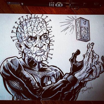 Pinhead from hellraiser taking a selfie because that dude is sliiiick.  Favorite horror movie ever (at the moment). #inktober is almost over!  #hellraiser #halloween #ink #art New Artwork From Instagram