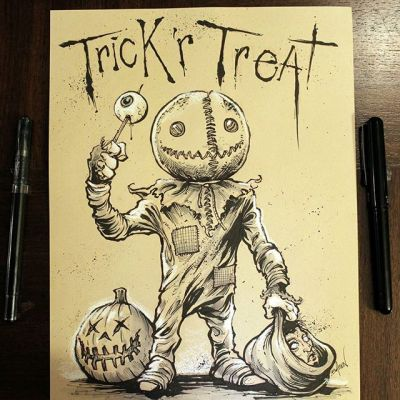 Happy Halloween!  #Inktober is over, and I made it all 31 days!  Thanks so much to everyone who followed along and encouraged me.  Here's Sam from Trick R Treat, one of my favorite halloween movies.#inktober #ink #sketch #brush #blackandwhite #art #instaartist #brianallen New Artwork From Instagram