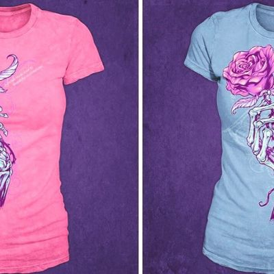 I usually ask my wife when it comes to decisions like these - but curious what the ladies think the best color scheme is for this t-shirt?  I like the light blue because the design appears more subtle.⠀#art #illustration #skeleton #rose #feminine #tshirt #freelance #FlylandDesigns New Artwork From Instagram