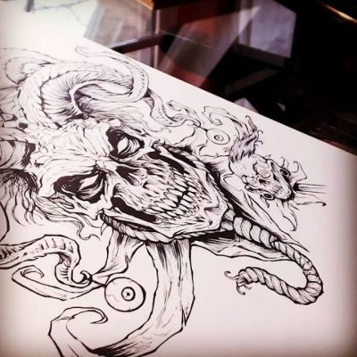 Just uploaded a new video of me inking this album cover on paper check it out on my YouTube channel #art #skull #ink New Artwork From Instagram