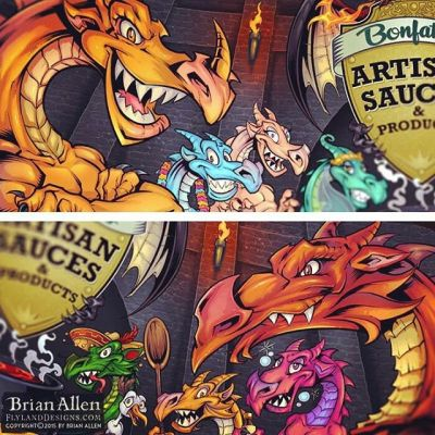 Here's some detail shots of a banner I illustrated for a BBQ brand called Bonfattos using characters I helped develop previously with Loaded Creative.  Inked and colored in Clip Studio Paint.⠀#art #illustration #dragon #bbq #freelance #FlylandDesigns New Artwork From Instagram