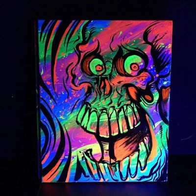 """Hey guys, I'm trying to peddle these original #blacklight #paintings I created on 16"""" x 20"""" canvas.  This one's a #skull - looks insanely bright under the blacklight.  Asking $149 each.  Please tag anyone you know who might be interested in blacklight #art.  Check them out in my shop http://www.flylanddesigns.com/shop/ New Artwork From Instagram"""
