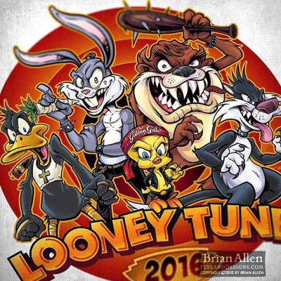 """Looney Tunes parody I did recently with the crew as a group of thugs.  Take a close look at Bugs' """"carrot."""" Please don't sue me.⠀#art #illustration #logo #looneytunes #russ #thuglife #freelance #FlylandDesigns New Artwork From Instagram"""