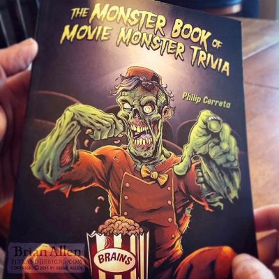 """Book cover illustration of a zombie usher enjoying a fresh box of buttered brains in a movie theater I illustrated for Phillip Cerreta's new movie trivia book, """"The Monster Book of Movie Monster Trivia."""" The client came to me with the idea of having a zombie in a theater enjoying a box of brains as if it were popcorn, and I thought it would be funny to dress him up in a tattered usher's uniform. I love finding new ways to draw zombies!⠀#art #illustration #bookcover #usher #zombie #freelance #FlylandDesigns New Artwork From Instagram"""