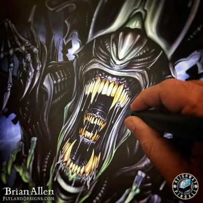 Holy crap I've got exciting news on this #AlienDay!! #Heighway #Pinball has hired me to create the artwork for the backglass of the OFFICIAL #Alien pinball machine!!!! Exclamation points!!!!⠀⠀We're waiting on one last approval at Fox legal, so I can't share everything yet, but here's a sneak peak.  That's a narly looking bitch! New Artwork From Instagram