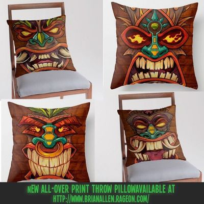 I created a new series of Tiki Head art that I thought would look really cool on a set of throw pillows for the beach house that we will own someday in the far, far future.  Check them out! https://www.rageon.com/a/users/TheArtofBrianAllen⠀#tiki #beach #art #pillows #allover #decor New Artwork From Instagram