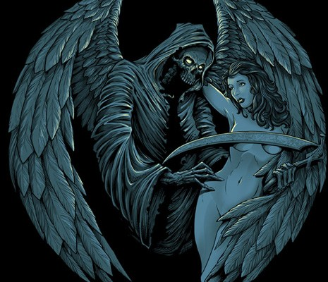 Illustration of the angel of death with a naked woman