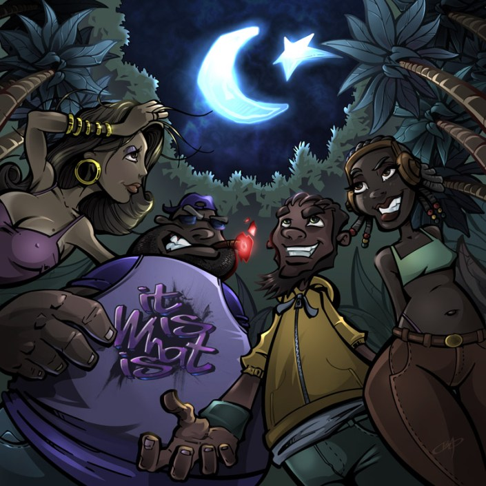 Album cover illustration of black urban people in the jungle