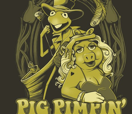 Ilustration of kermit the frog and miss piggy as pimp and ho