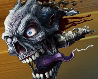 Zombie head digital painting for motocross dirtbike graphic