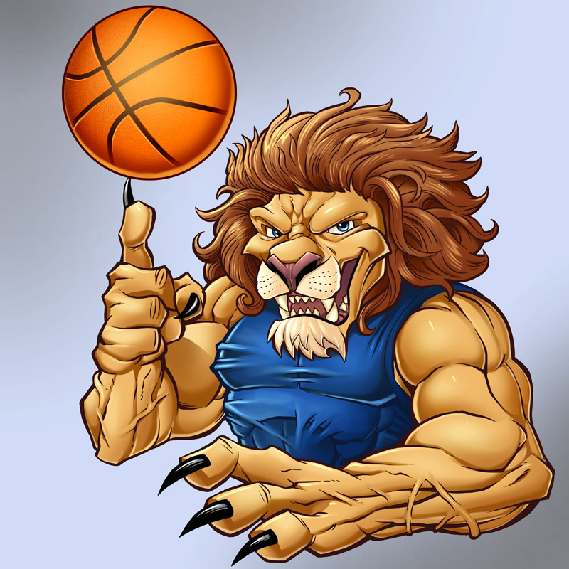 Mascot character design of a lion playing basketball