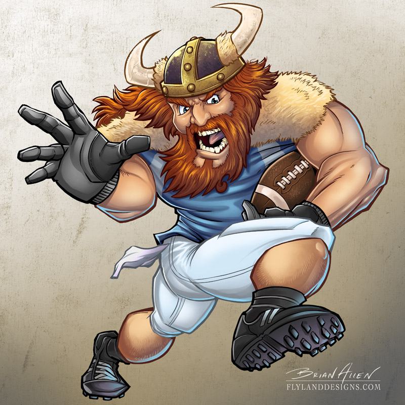 Mascot illustration of a viking playing football.