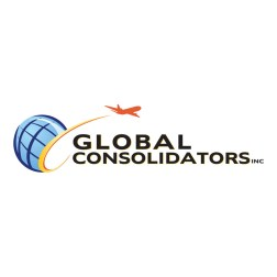 Logo design for a global shipping company featuring a globe and airplane