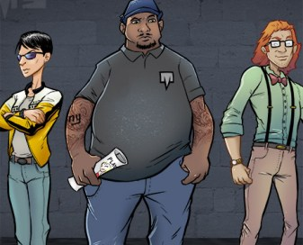 Comic book character concept designs for hip-hop artists