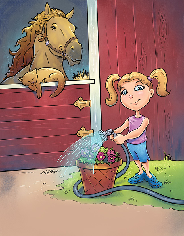 Children's Book illustration of a little girl and a horse