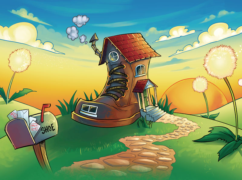 The Old Man In The Shoe Children's Book illustrations