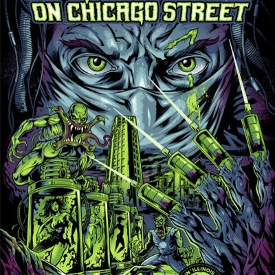 Very pleased to share my finished gig poster for the Nightmare on Chicago Street concert this weekend!  I had 50 signed and numbered prints made, and I'm selling them at http://www.flylanddesigns.com/shop/  So happy with how this turned out - it was extremely challenging for me.  My wife and I will be at the event selling these prints and my other artwork, so if you're in the area, please stop by! #nocs #nightmareonchicagostreet #gigposter #zombieart #silkscreenart