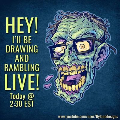 Hey I'll be drawing and rambling LIVE and answering questions on YouTube, Facebook, Twitch, and Periscope around 2:30 EST - please stop by!